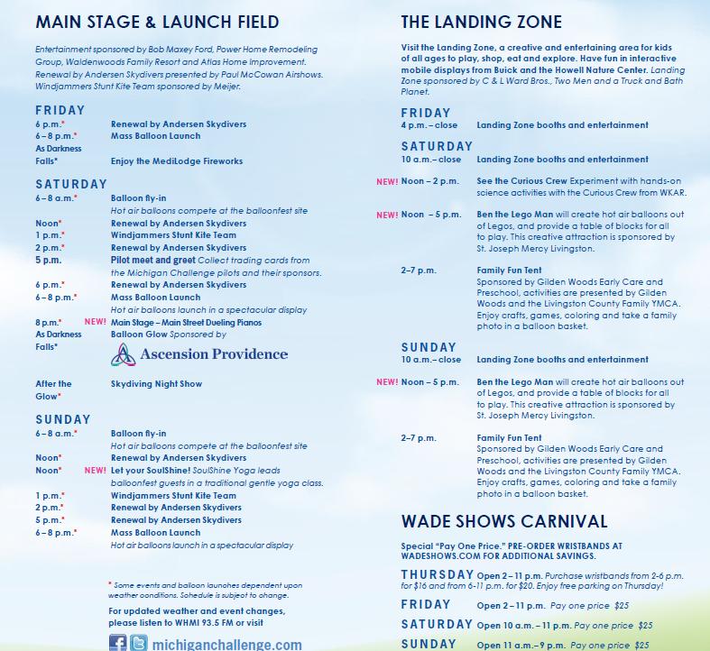 Schedule Of Events Michigan Challenge